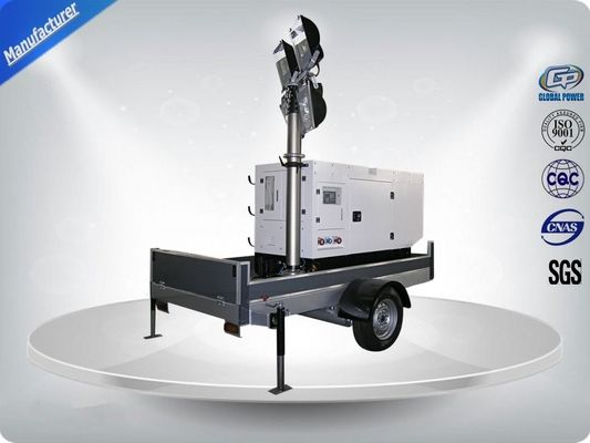 Çin Single Phase Generator Mobile Light Tower Trailer With Manual Operated Mast Distribütör